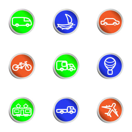 Set of 9 glossy web icons. Color circle. Stock Vector - 14736402