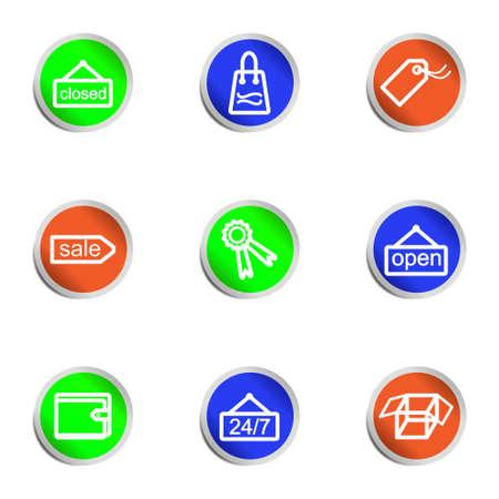 Set of 9 glossy web icons. Color circle. Vector