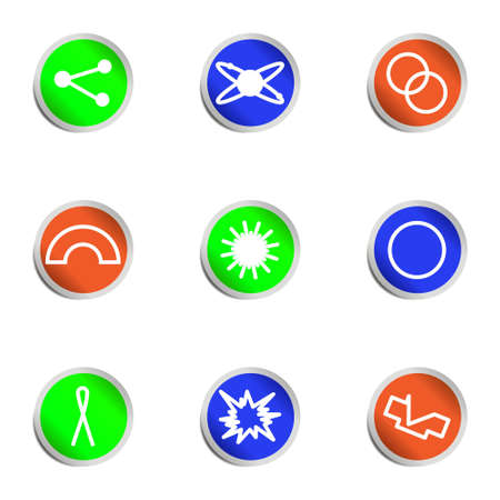 Set of 9 glossy web icons. Color circle. Stock Vector - 14736390