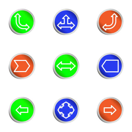 Set of 9 glossy web icons. Color circle. Stock Vector - 14736444