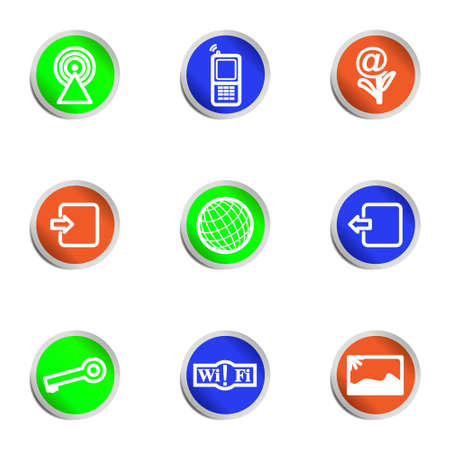 Set of 9 glossy web icons . Color circle. Vector