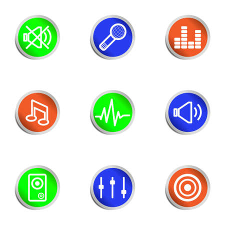 Set of 9 glossy web icons . Color circle. Stock Vector - 14736400
