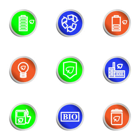 Set of 9 glossy web icons. Color circle. Stock Vector - 14736454