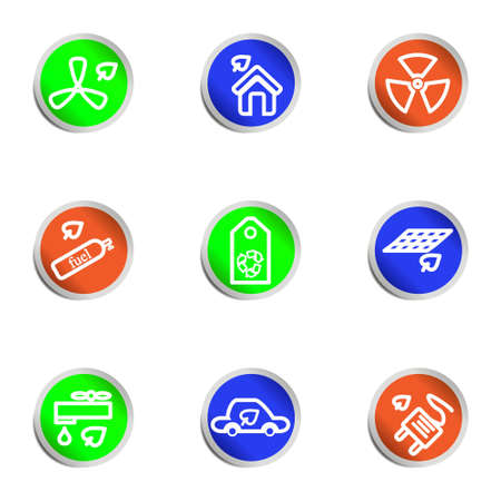 Set of 9 glossy web icons. Color circle. Stock Vector - 14736456