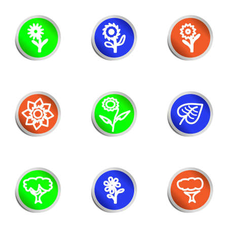 Set of 9 glossy web icons. Color circle. Stock Vector - 14736457