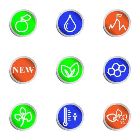 Set of 9 glossy web icons. Color circle. Vector
