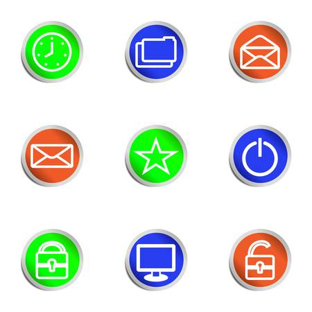 Set of 9 glossy web icons.  Color circle Stock Vector - 14736392