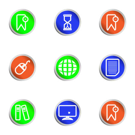 Set of 9 glossy web icons .   Color circle  Vector