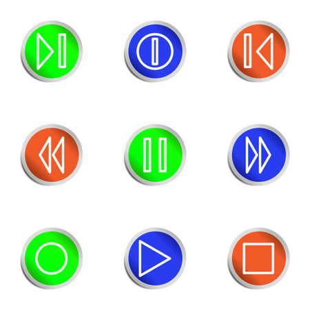 Set of 9 glossy web icons. Color circle  Vector