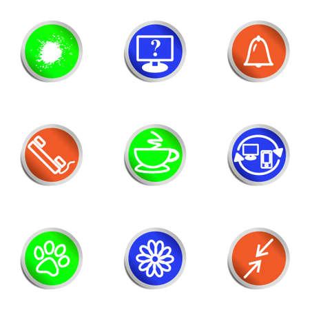 icq: Set of 9 glossy web icons.  Color circle  Illustration