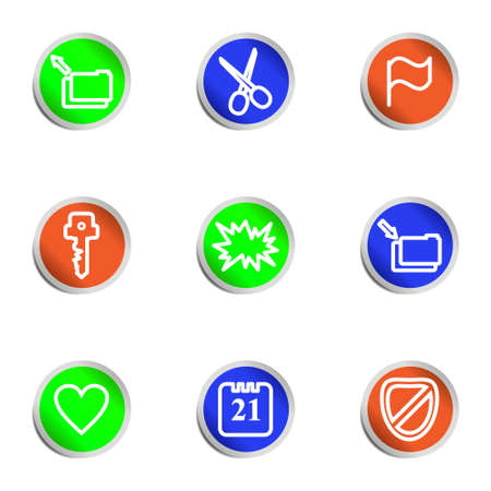 Set of 9 glossy web icons. Color circle Stock Vector - 14736445
