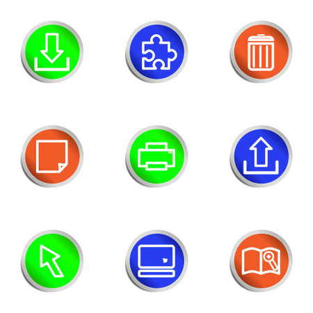 Set of 9 glossy web icons .  Color circle Stock Vector - 14736396