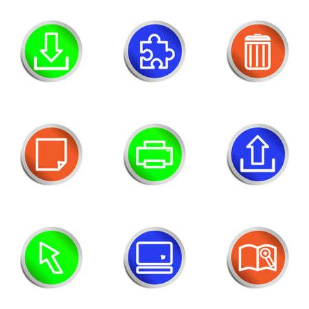 Set of 9 glossy web icons .  Color circle  Vector