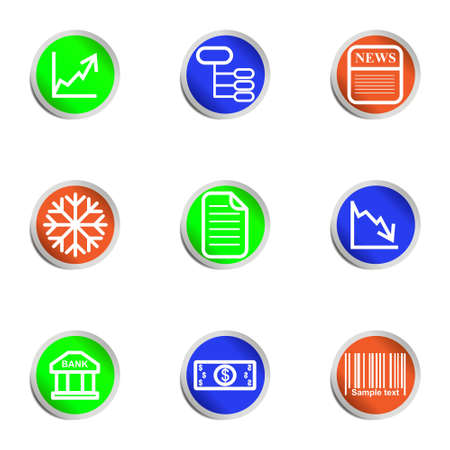 Set of 9 glossy web icons.  Color circle  Stock Vector - 14736455