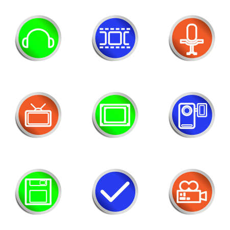 Set of 9 glossy web icons .  Color circle Stock Vector - 14736393
