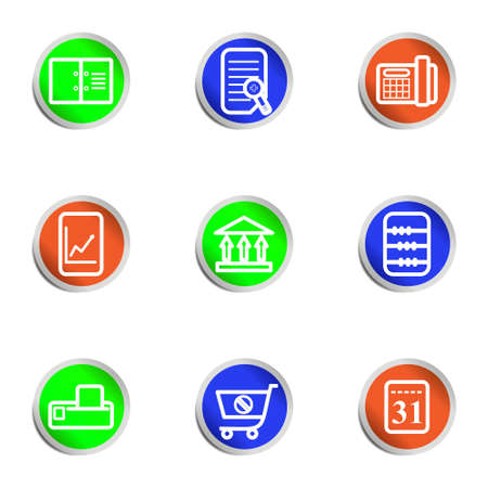 Set of 9 glossy web icons .  Color circle Stock Vector - 14736405