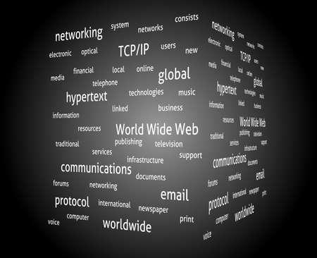 hypertext: Internet kywords. Сoncept wordcloud. Vector design advertise. Illustration