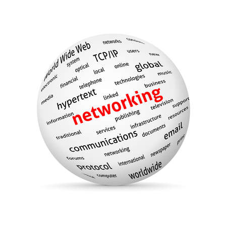 business words: Networking globe. concept word cloud. Vector design advertise.