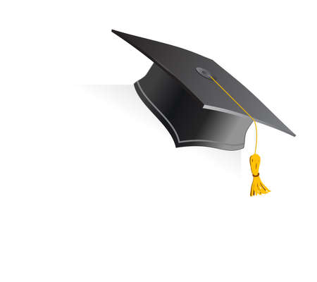 mortar board: Education Cup on white background. Vector illustration.
