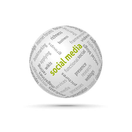 Social media globe. Сoncept wordcloud. Vector design advertise. Stock Vector - 14958830