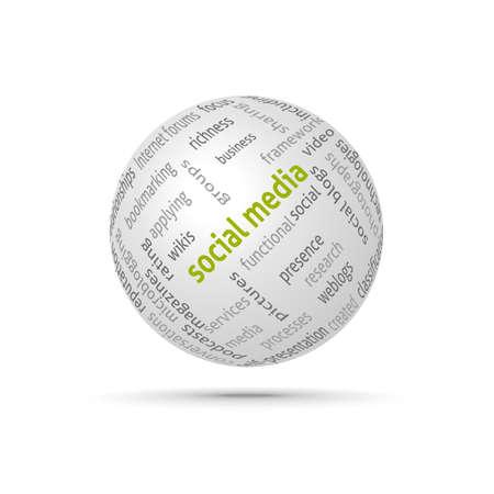 wiki: Social media globe. Сoncept wordcloud. Vector design advertise. Illustration