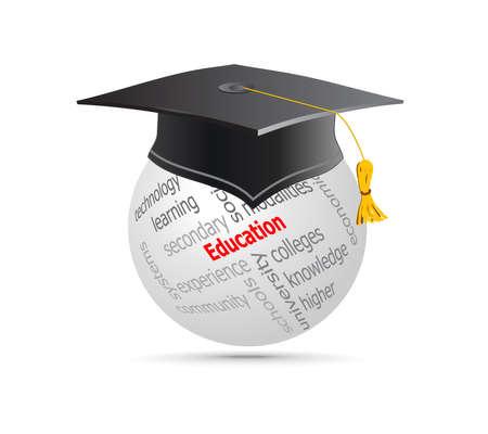 Bildung Cup on Globe Keywords. Vektor-Illustration. Standard-Bild - 14958828