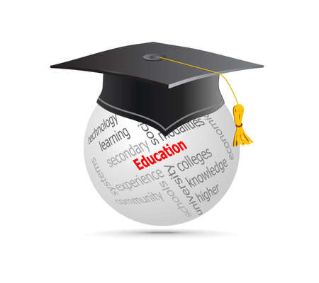 Education Cup on Globe Keywords. Vector illustration. Ilustrace