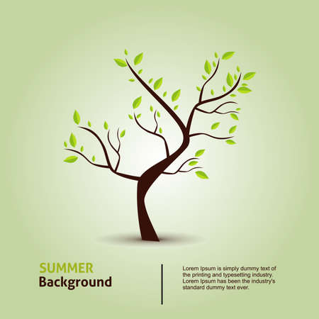 Green tree. Hand draw vector eco background. Vector