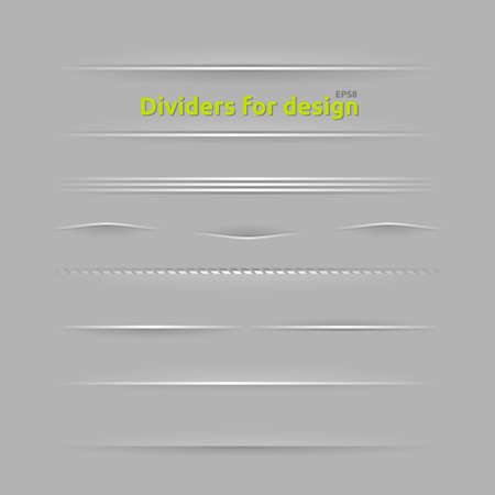 Dividers for design. Set of design elements with different shadows. Vector