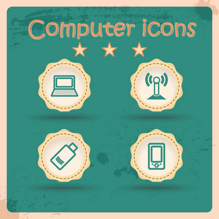 Computer Icons. Set of Vintage Symbol. Retro Vector Illustration. Stock Vector - 14958833