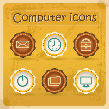 Internet eddiction icons. Vintage design. Grunge style.Retro Vector Illustration. Vector