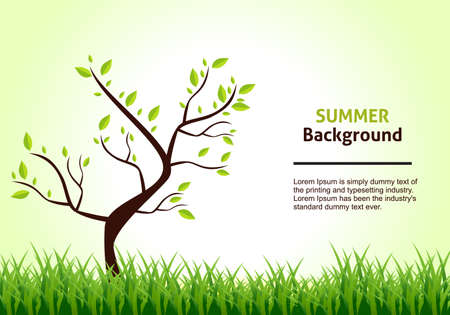 Summer Landscape. Tree on a Background of Green Grass. Vector Illustration. Vector