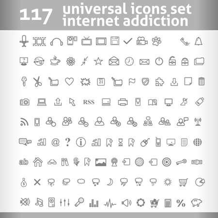 simgeler: 117 Evrensel Simgeler ayarlayın. Vector Collection. Kişisel Tasarım temiz sembolü. Çizim