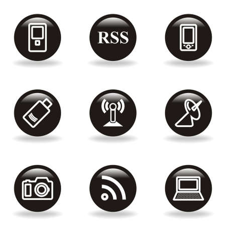 Set of 9 glossy web icons (set 1). Black circle with reflection and shadow.