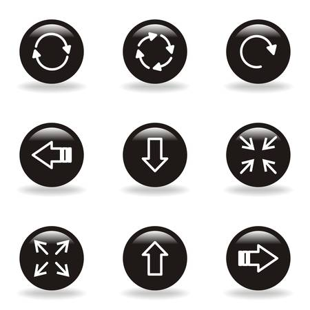 Set of 9 glossy web icons (set 2). Black circle with reflection and shadow. Stock Vector - 15232984