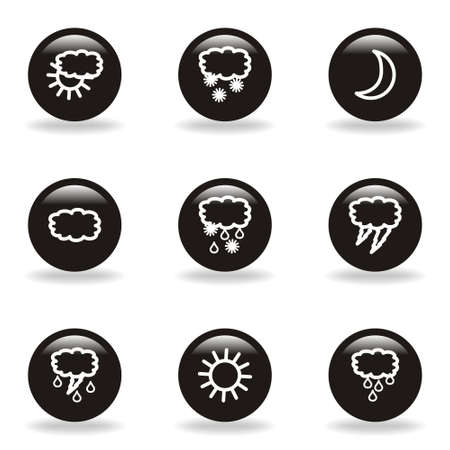 Set of 9 glossy web icons (set 4). Black circle with reflection and shadow. Stock Vector - 15232988