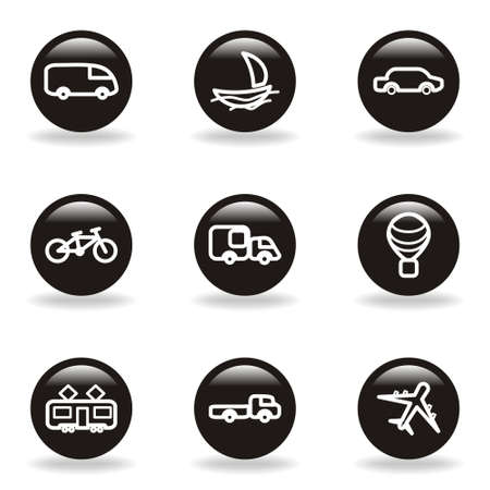 Set of 9 glossy web icons (set 5). Black circle with reflection and shadow. Vector