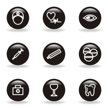 Set of 9 glossy web icons (set 6). Black circle with reflection and shadow. Illustration