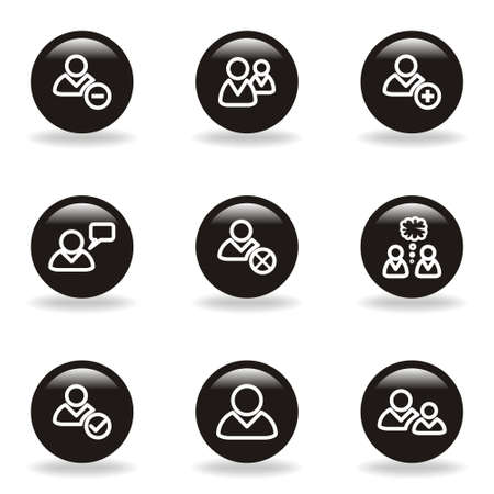 Set of 9 glossy web icons (set 7). Black circle with reflection and shadow. Vector