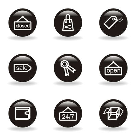 Set of 9 glossy web icons (set 9). Black circle with reflection and shadow. Stock Vector - 15233030