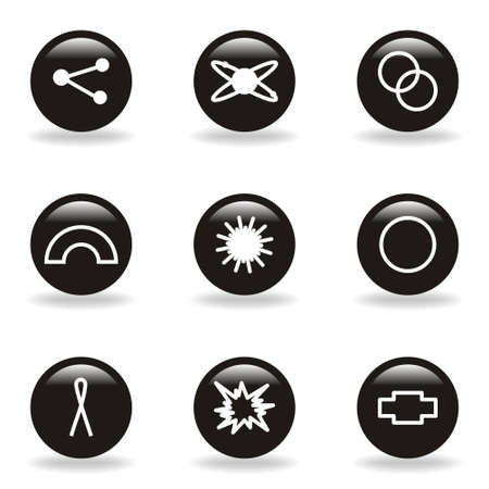 Set of 9 glossy web icons (set 10). Black circle with reflection and shadow. Vector
