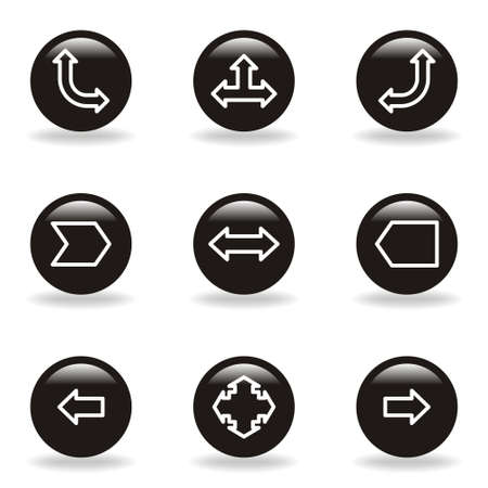 Set of 9 glossy web icons  set 12   Black circle with reflection and shadow   Stock Vector - 15233485