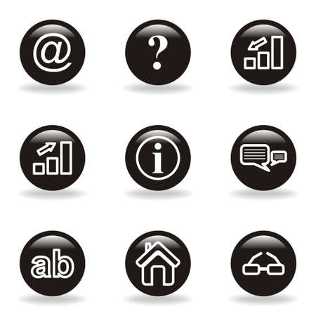 Set of 9 glossy web icons  set 13   Black circle with reflection and shadow  Vector