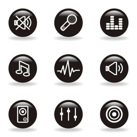 Set of 9 glossy web icons  set 15   Black circle with reflection and shadow