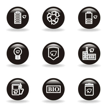 16 9: Set of 9 glossy web icons  set 16   Black circle with reflection and shadow  Illustration