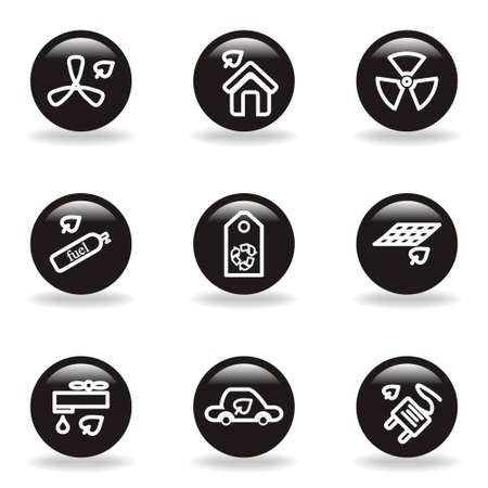 Set of 9 glossy web icons  set 17   Black circle with reflection and shadow