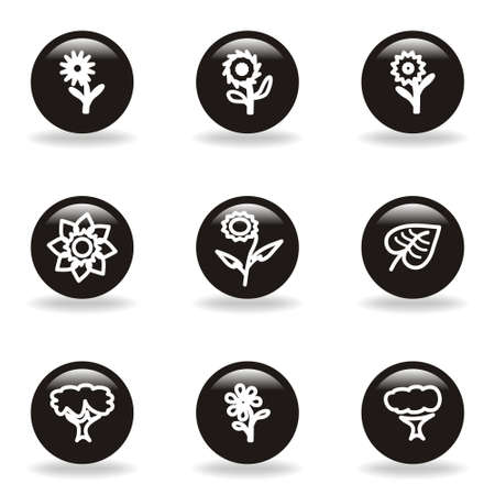 Set of 9 glossy web icons  set 18   Black circle with reflection and shadow Stock Vector - 15233727