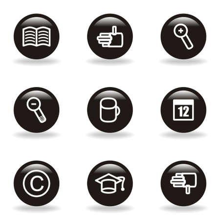 Set of 9 glossy web icons  set 20   Black circle with reflection and shadow  Stock Vector - 15233705