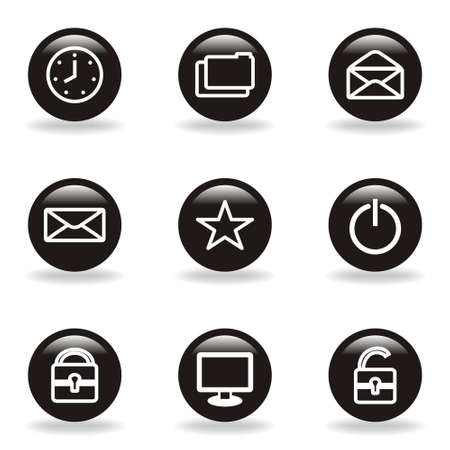 Set of 9 glossy web icons  set 21   Black circle with reflection and shadow Stock Vector - 15233566