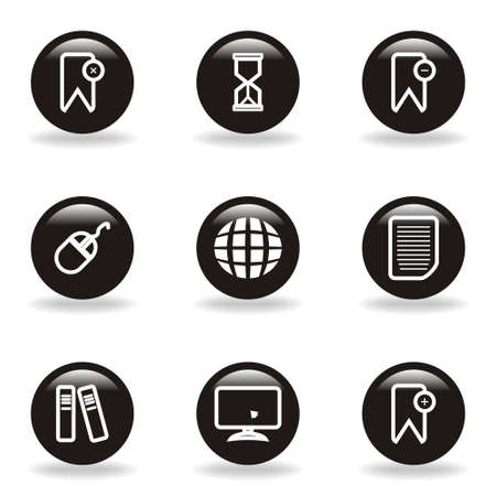 Set of 9 glossy web icons  set 22   Black circle with reflection and shadow  Vector